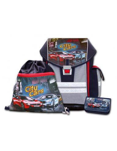 Školní aktovkový set ERGO ONE City Cars 3-dílný