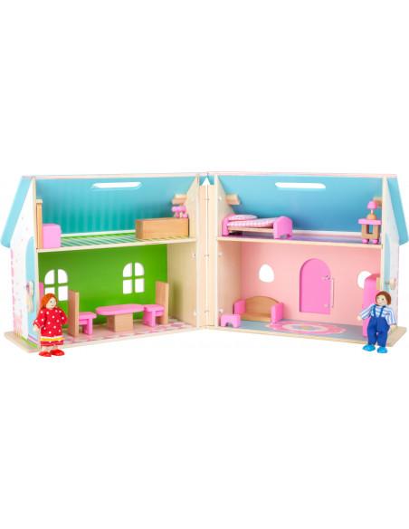 Dřevěný skládací domeček pro panenky