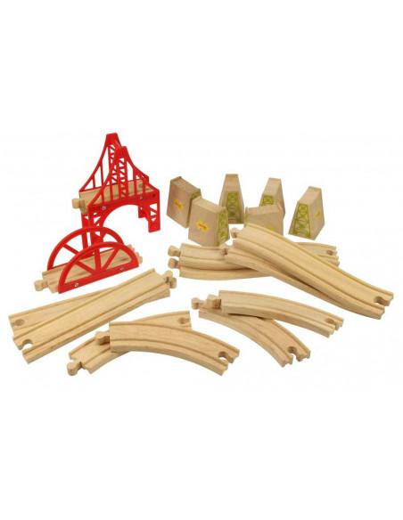 Dřevěné koleje set most 18 dílů