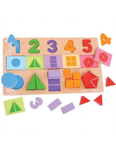 Didaktická deska Čísla, barvy, tvary