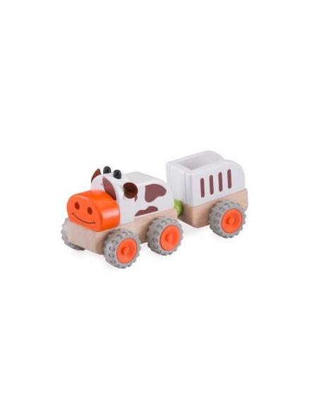 Dřevěný mini traktor kravička