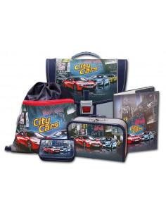 Školní aktovkový set City Cars 5-díný