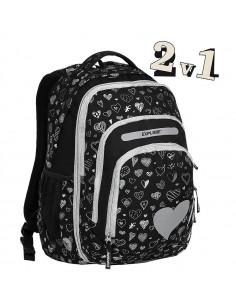 Školní batoh 2v1 BAR Black Hearts